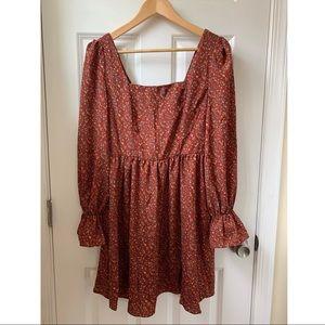 🌸SHEIN Red/Burgundy Floral Dress 🌸